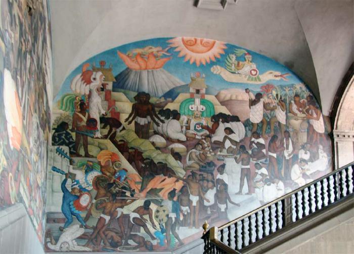 Diego rivera s quetzalcoatl mural for Diego rivera mural palacio nacional